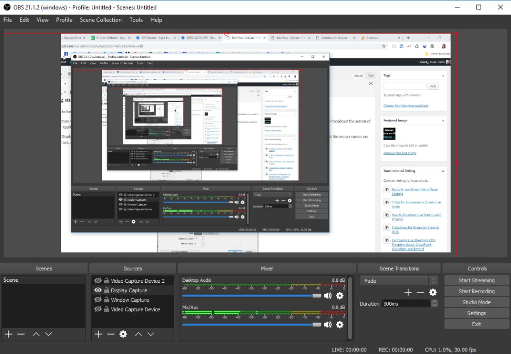 OBS studio settings - windows capture