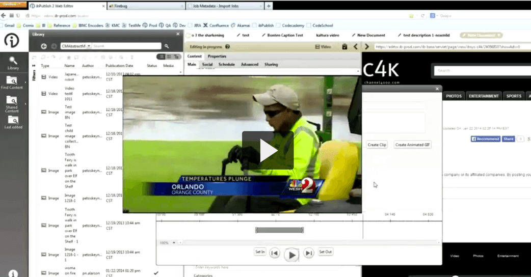 Kaltura API in action streaming video news