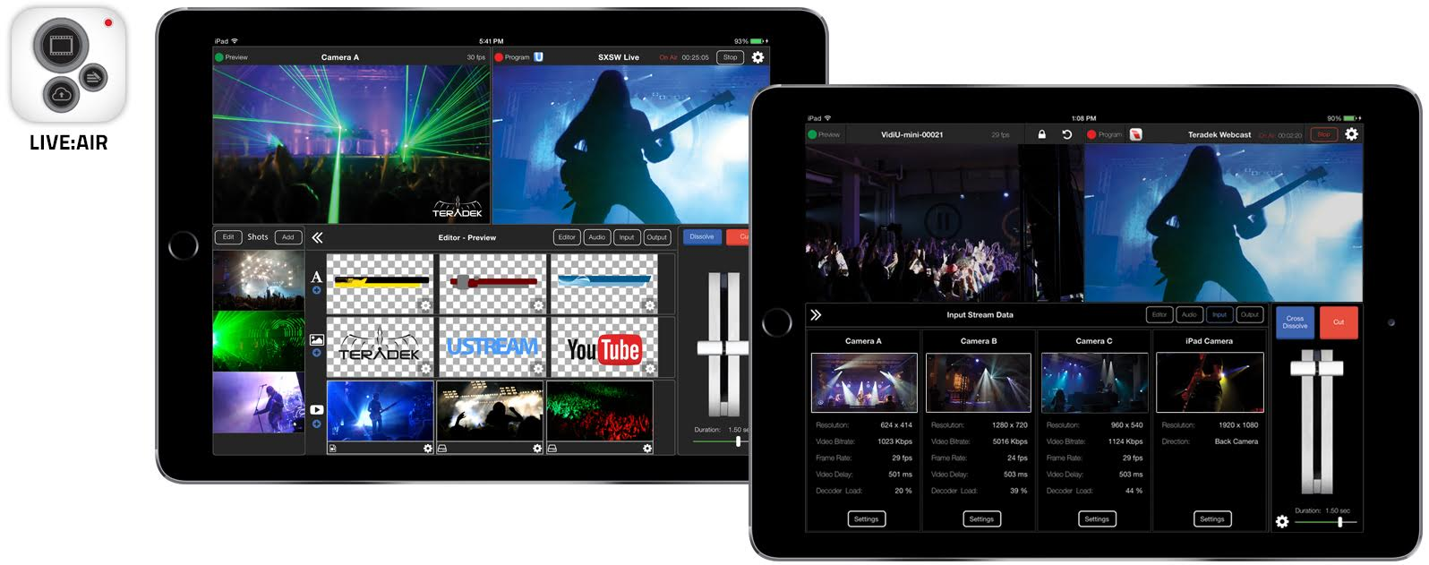 Professional Live Video Broadcasting Production On Your Tablet or Phone Live Air 1