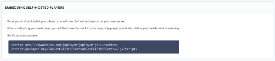 The HTML5 JWPlayer API asks for a license key, what is this? - Dacast