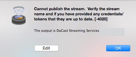 Wirecast error message
