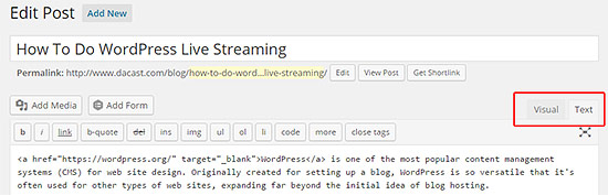 Wordpress live streaming
