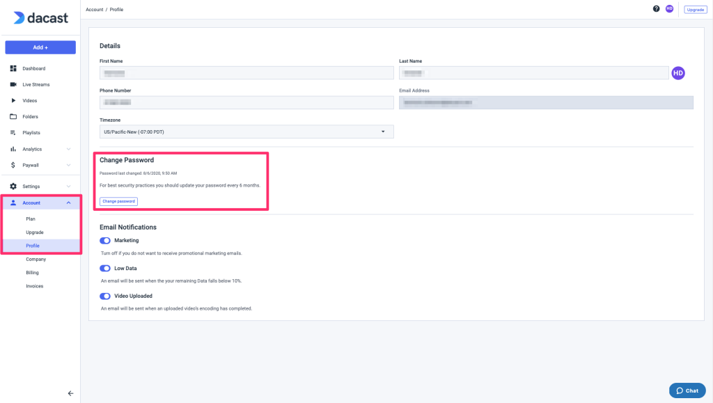 Dacast Password - Account profile