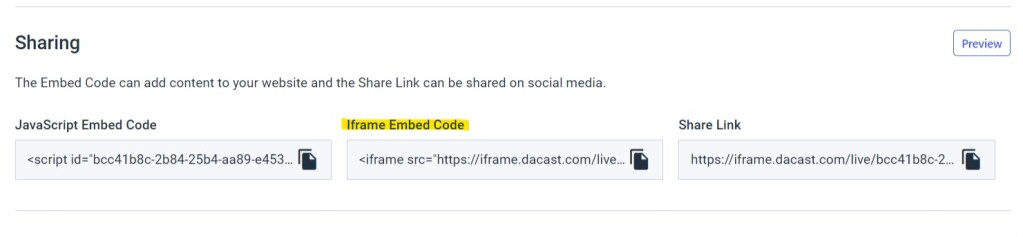 Dacast Cleeng Paywall - Embed code