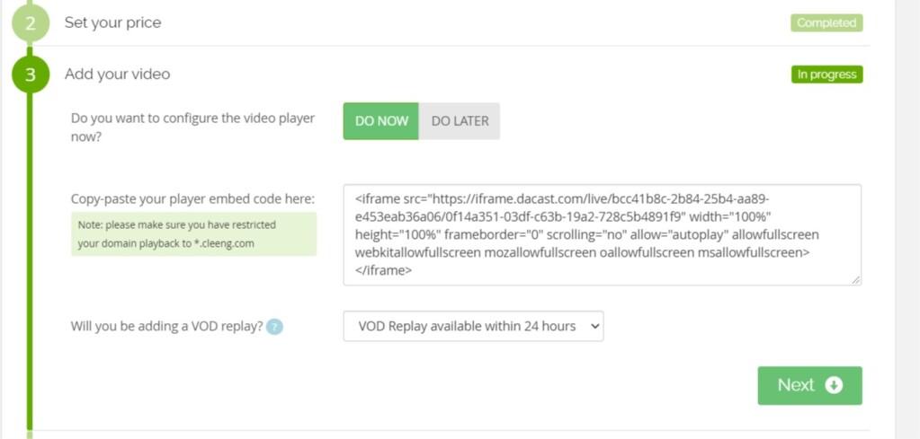 Dacast Cleeng Paywall - Embed code setup