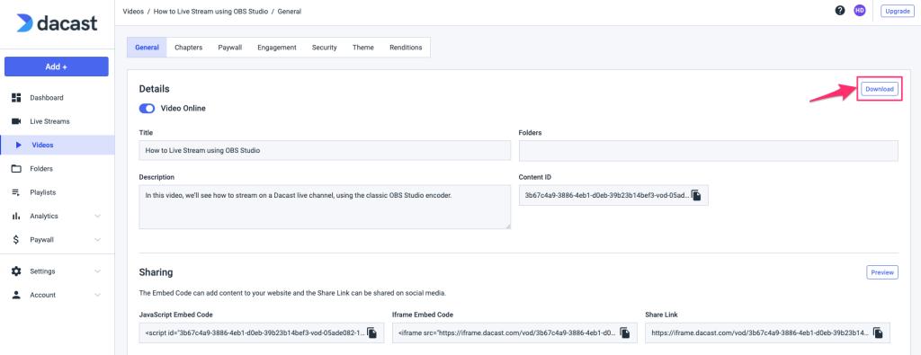 Dacast - Download Video on Demand Files