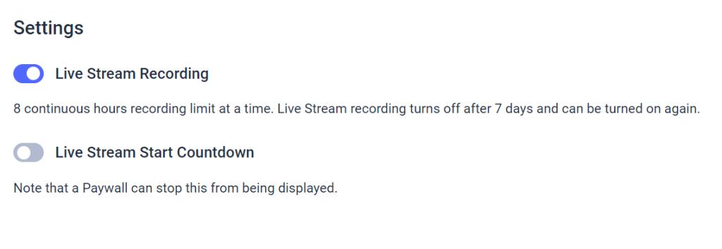 Dacast Live Stream Recording - Activate Live Stream