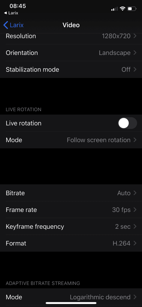 Dacast Mobile Live Broadcast - Larix Video Settings