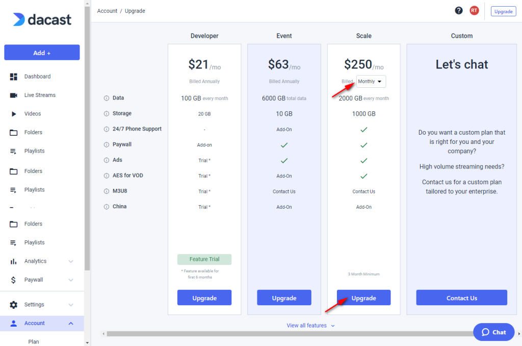 Dacast Monthly Plan Pricing - Scale choose