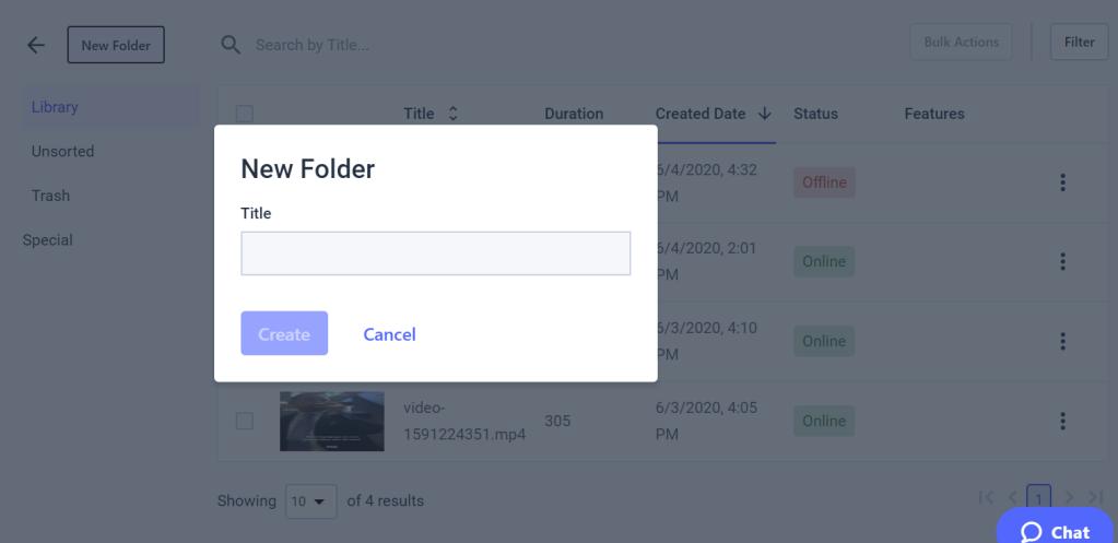 Dacast VOD Content - Add Folder