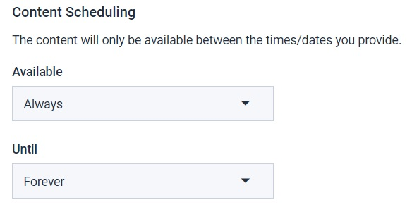 Dacast security preferences - content scheduling