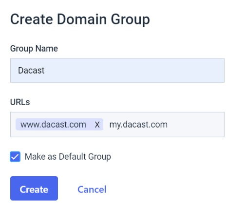 Dacast security preferences - create domain group