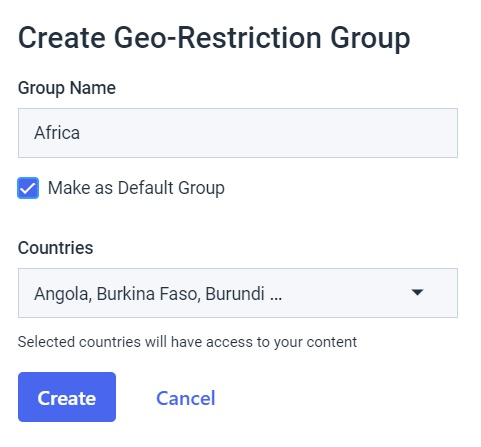 Dacast security preferences - create geo-restriction group