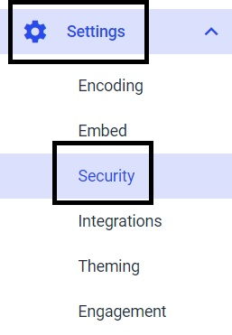 Dacast security preferences - settings