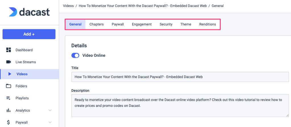 Dacast Account - Videos On Demand Menu