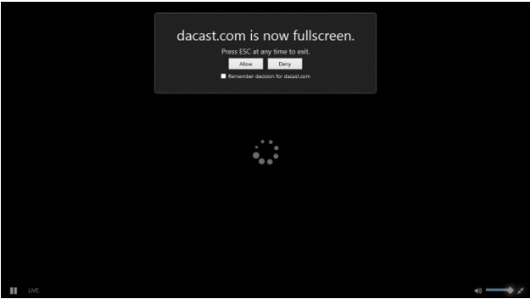 Firefox - dacast.com is now fullscreen