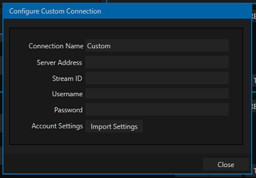 TriCaster Streaming - Configure Custom Connection