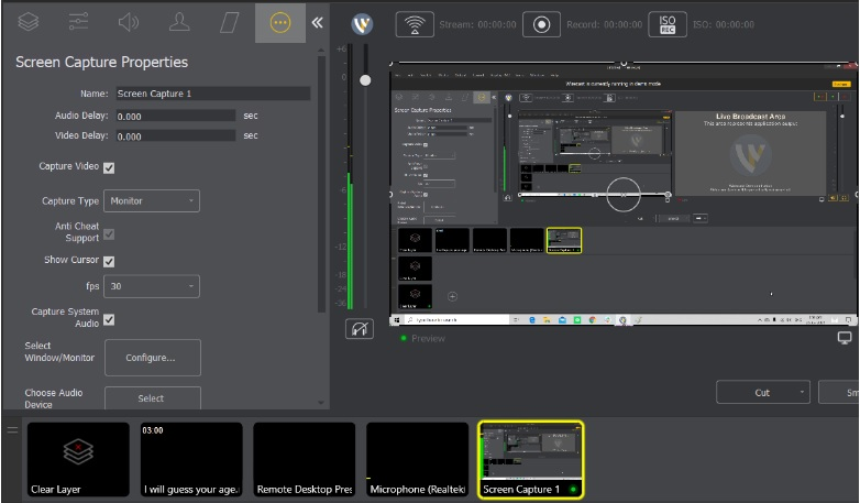 Wirecast Microphone Audio - Screen Capture Properties