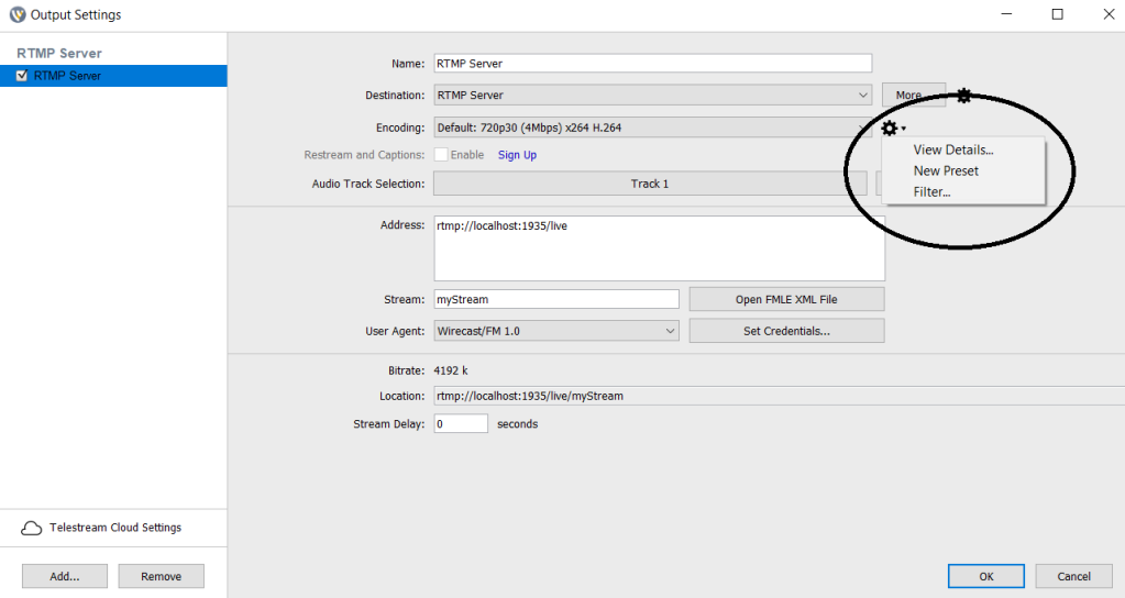 Wirecast Video Encoding Profile - RTMP Server