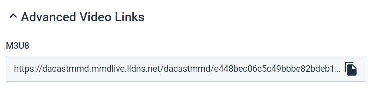 Dacast M3U8 Player Link - Advanced