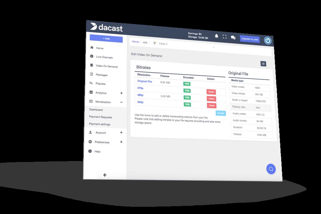 dacast vod video on demand encoding solution