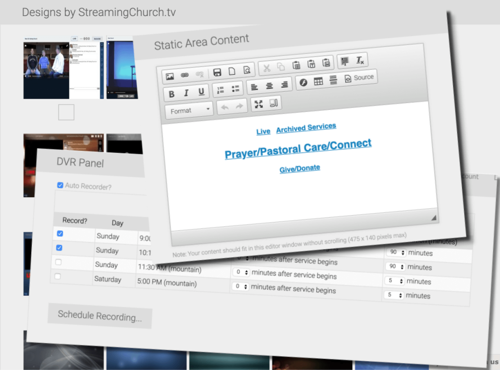 streaming church tv dashboard
