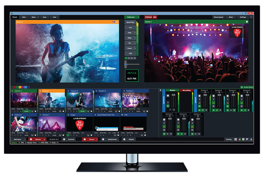 vMix Video Broadcasting Software dashboard
