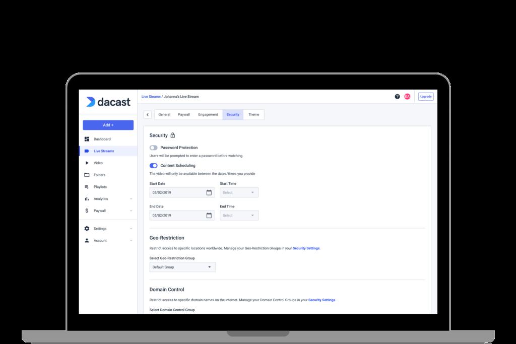 Dacast New Platform - Private Video Sharing