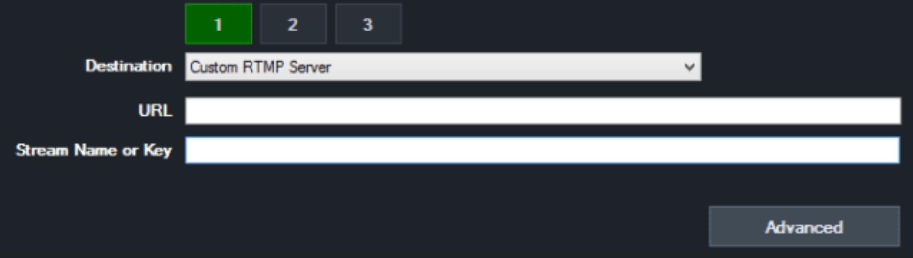 Custom RTMP Server vmix