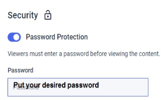 Dacast Video Security - Password Protected Streams - Protection Settings