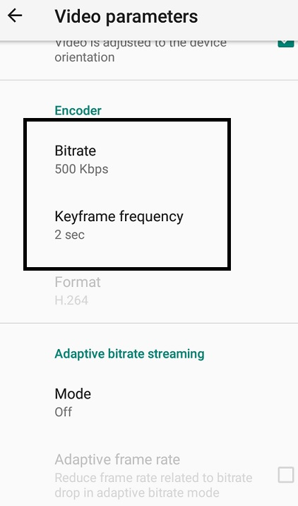Live Video Streaming - Larix Mobile Broadcaster - video parameters bitrate