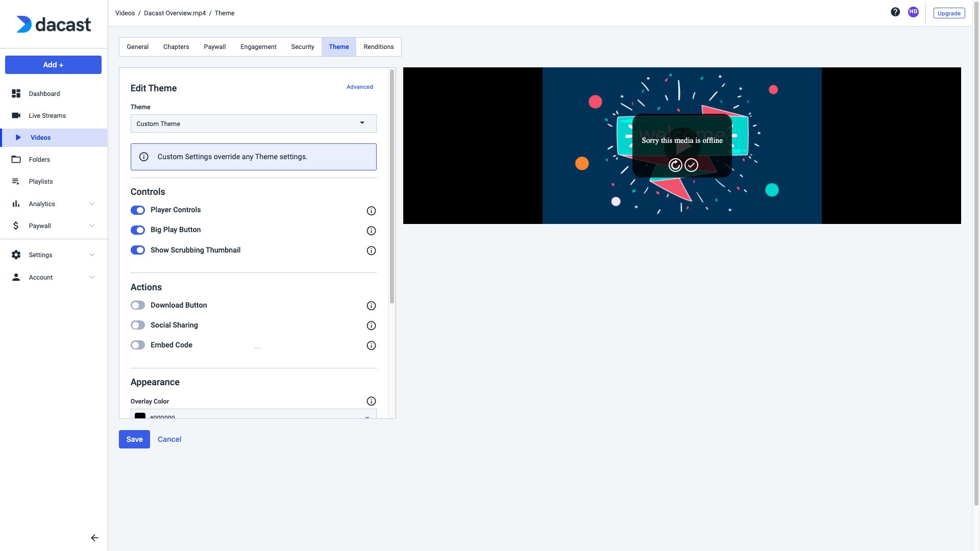 Dacast Player theme - Media Offline
