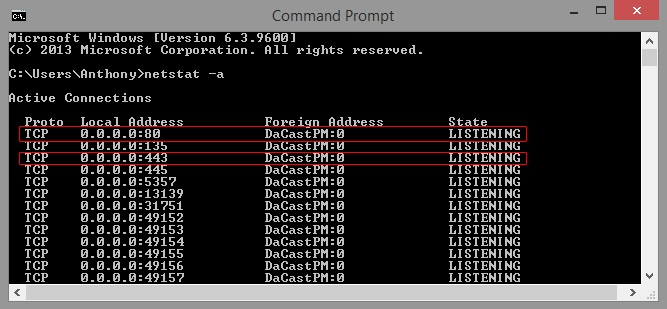 Ports for Live Streaming - Command Prompt