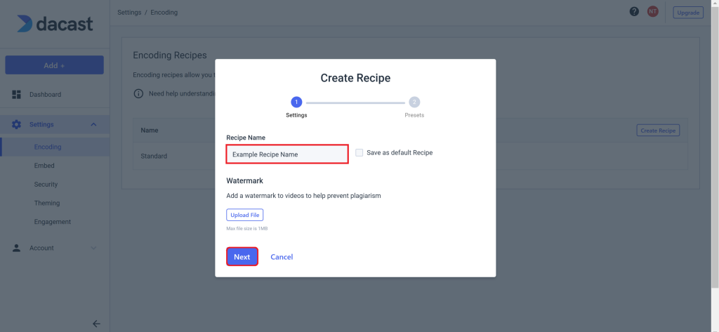 Dacast platform Create Recipe
