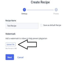 Walkthrough Logo and Watermarking - Dacast Recipe Creation