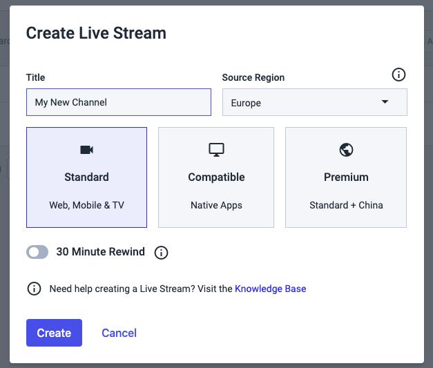 dacast platform - select standard html5