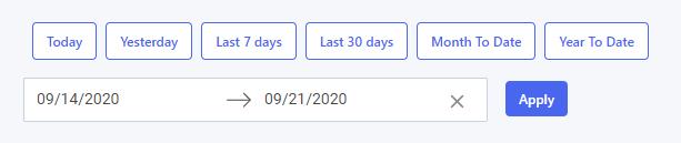 Dacast Analytics dashboard - Date range