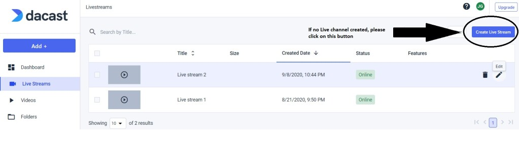 Dacast Encoder Setup Guide - Create Live Stream