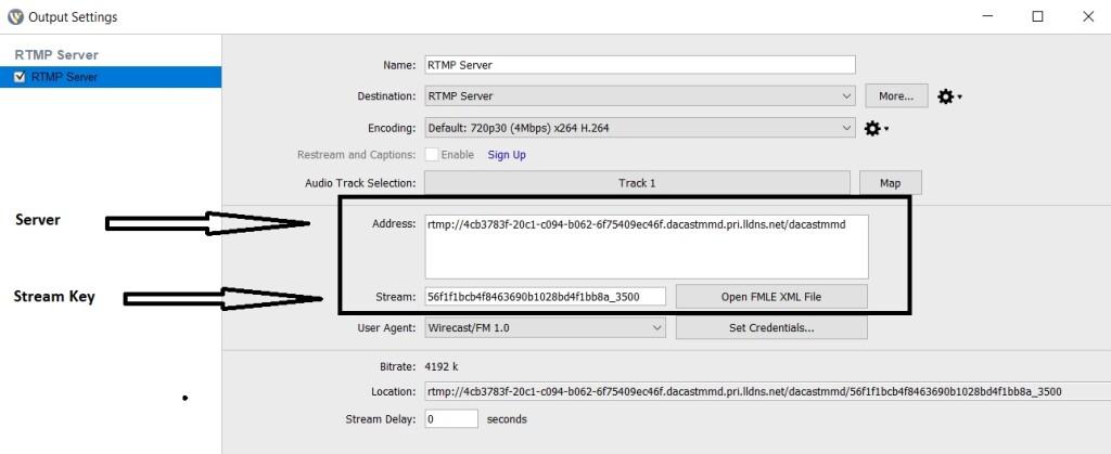 Dacast Encoder Setup Guide - Wirecast settings RTMP Stream Key
