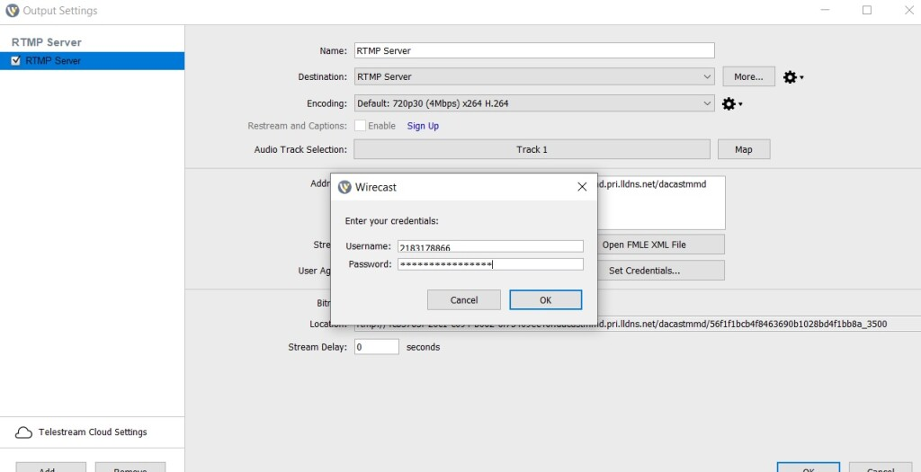 Dacast Encoder Setup Guide - Wirecast settings RTMP confirm credentials