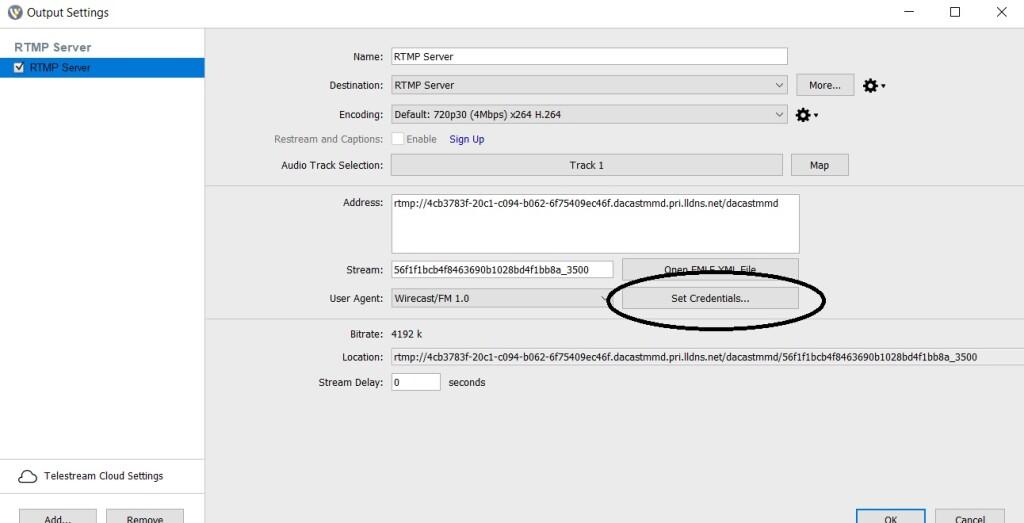 Dacast Encoder Setup Guide - Wirecast settings RTMP set credentials