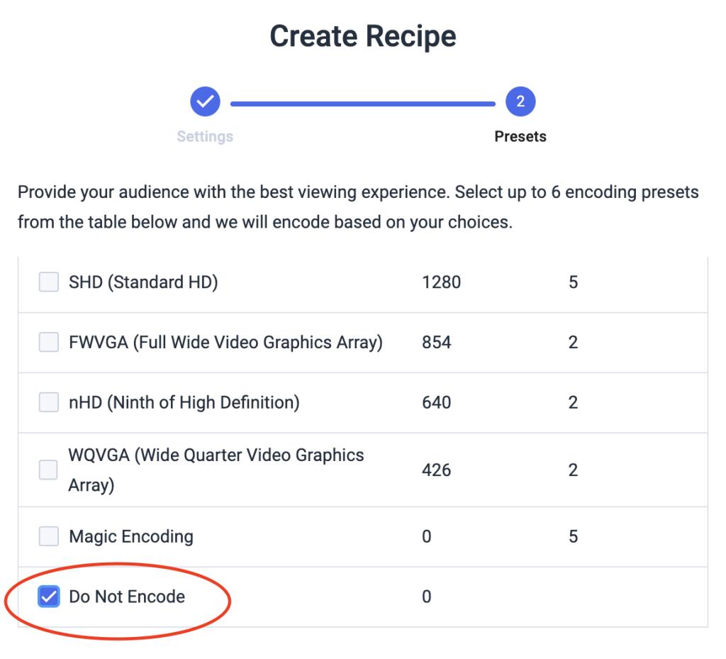 Dacast VOD Multi-Bitrate Encoding - create recipe