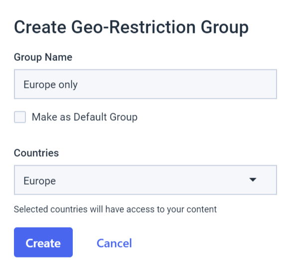 Dacast embedded video players - Create Geo-restriction group