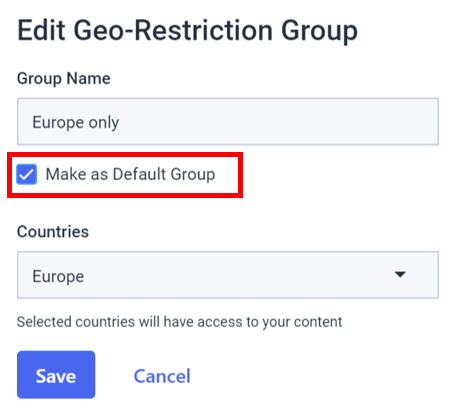 Dacast embedded video players - Edit Geo-restriction group