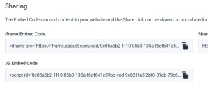 Dacast Platform - Embed code screenshot