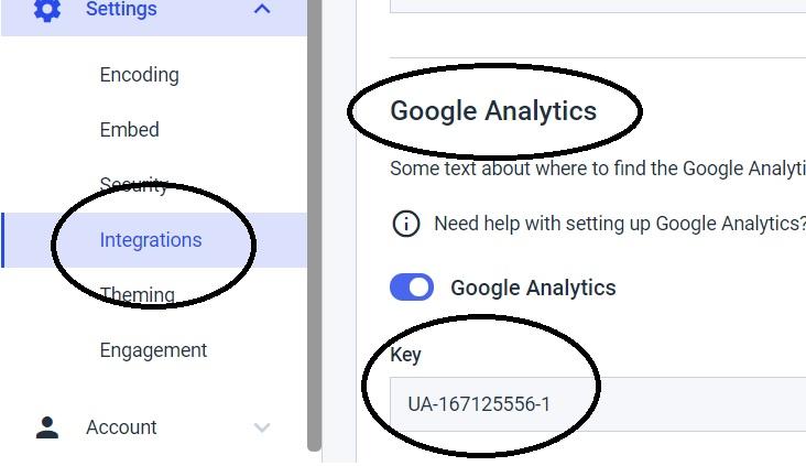 Dacast Google Analytics - Integrations > Key