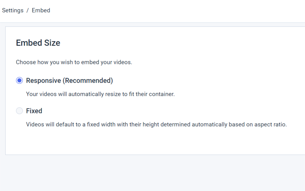 responsive video embed settings