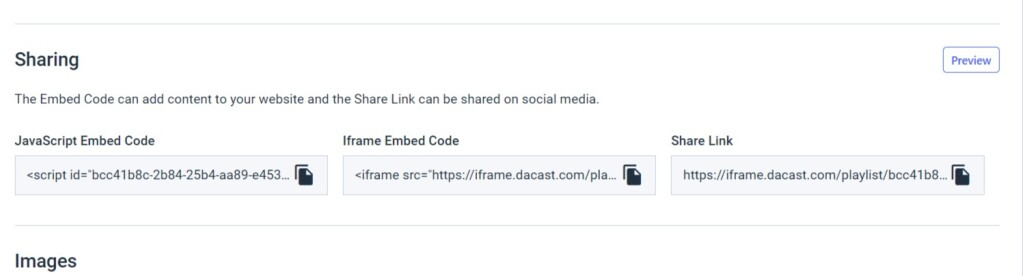 Dacast Create Video Playlists - Embed Code