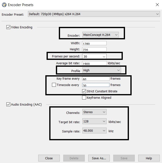 Wirecast Bitrate Settings - Encoder Presets