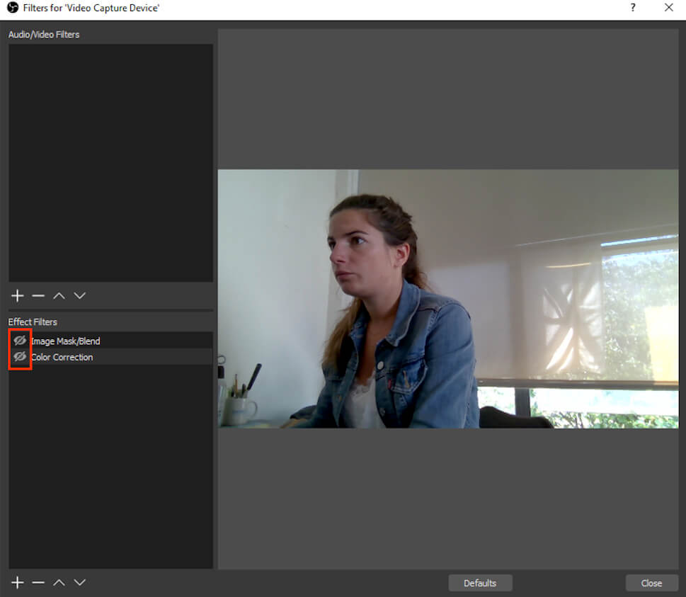 OBS effect filters for video capture device